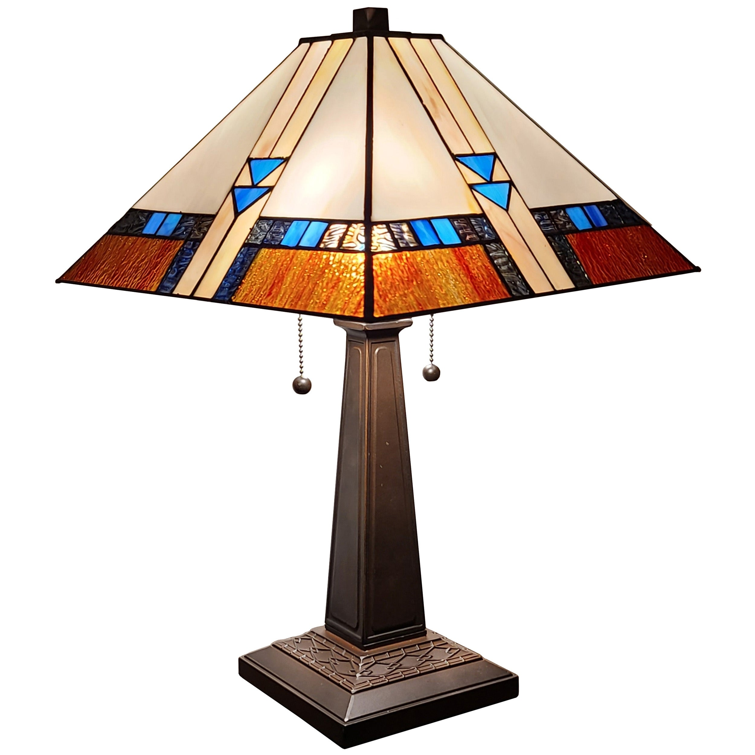 Amora Lighting 23 Inch Square Tiffany Style Glass Mission Table Lamp Overstock 14449092 Multi Colored