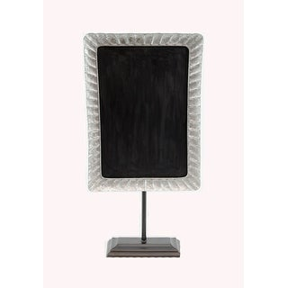 Rustic Galvanized Metal Framed Tabletop Chalkboard On Stand - Silver