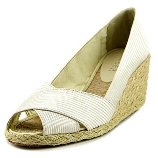 Lauren Ralph Lauren Cecilia Women Open Toe Canvas Ivory Wedge Heel