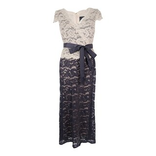 Adrianna Papell Women's Faux-Wrap Lace Gown - Eggshell