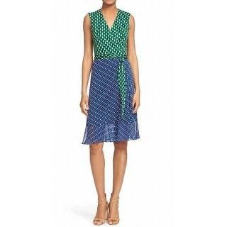 Diane von Furstenberg NEW Green Womens Size 10 Bethanie Wrap Silk Dress