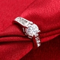 White Gold Plated Micro Pave Classic Ring - Thumbnail 3