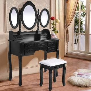 Costway Black Tri Folding Oval Mirror Wood Vanity Makeup Table Set with Stool &7 Drawers bathroom