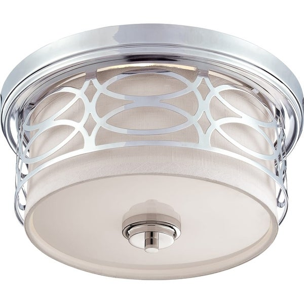 """Nuvo Lighting 60/4627 Harlow 2-Light 13-3/8"""" Wide Flush Mount Drum Ceiling Fixture - Polished Nickel"""