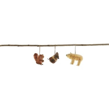 Pack of 6 Handmade Country Rustic Sisal Squirrel, Woodpecker and Bear Christmas Ornaments 4.5""