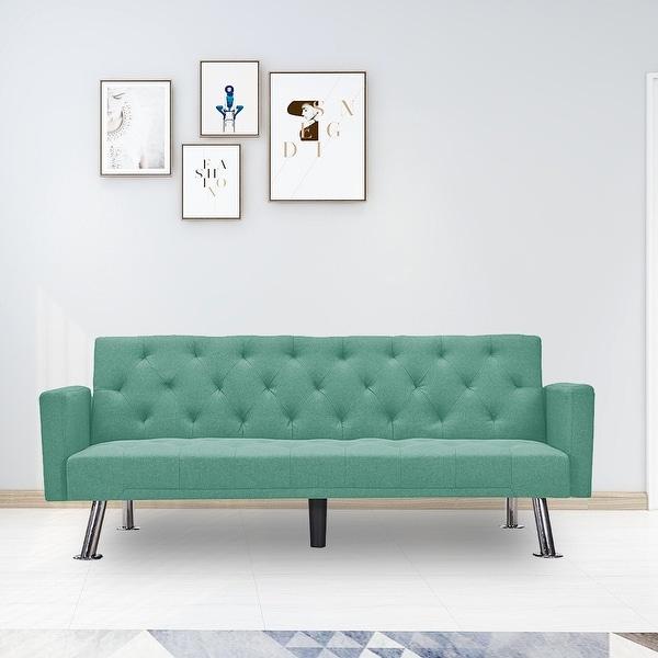 Modern Convertible Folding Futon Sofa Bed. Opens flyout.