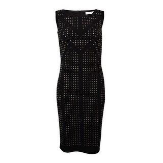 Calvin Klein Women's Sleeveless Studded Jersey Sheath Dress