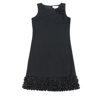 Sweet Heart Rose NEW Black Girls Size 16 Floral-Applique Ruffle Dress
