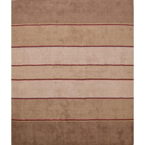 Striped Modern Gabbeh Oriental Area Rug Decorative Hand-tufted Carpet - 8' 4'' X 8' 4'' Square