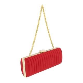 Scheilan Red Fabric Stiched Stripe Clutch