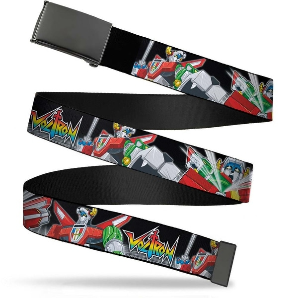Blank Black Bo Buckle Voltron Logo2 Intro Action Poses Grid Black Web Belt