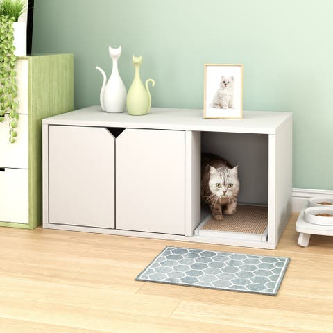 Way Basics Eco Cat Litter Box Enclosure Modern Cat Furniture, White