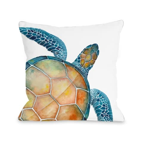 Oversized Sea Turtle Indoor - Outdoor Throw Pillow