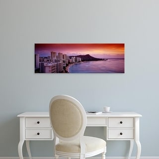 Easy Art Prints Panoramic Images's 'Sunset Honolulu Oahu HI USA' Premium Canvas Art