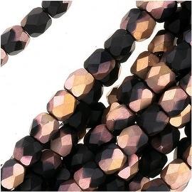 Czech Fire Polished Glass Beads 3mm Round 'Matte Apollo Jet' (50)