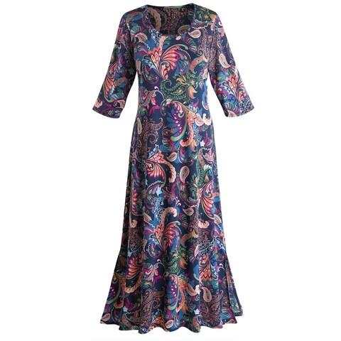 "Women's Paisley Passion Maxi Dress - 3/4 Length Sleeve - 50"" Long"