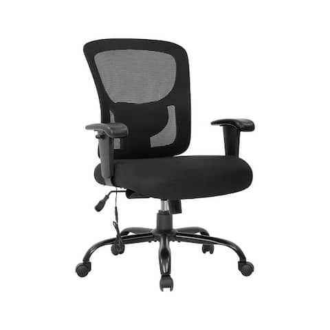 Global Pronex Mesh Ergonomic Big and Tall Office Chair Height Adjustable Arms & Adjustable Lumbar (Black)