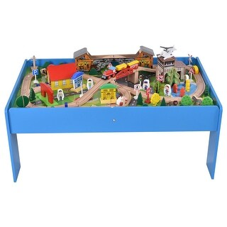 Gymax 108 Pieces Kids Train Track Table Set Wood Toy Railway Children Play Set