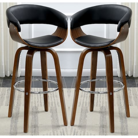 Modern Walnut Bentwood Design Black Upholstered Bar Stool