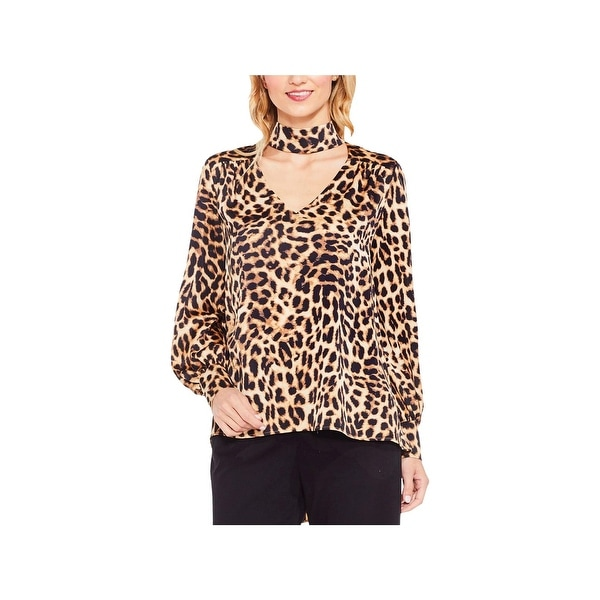 Vince Camuto Womens Tunic Top Cuff Sleeves Animal Print