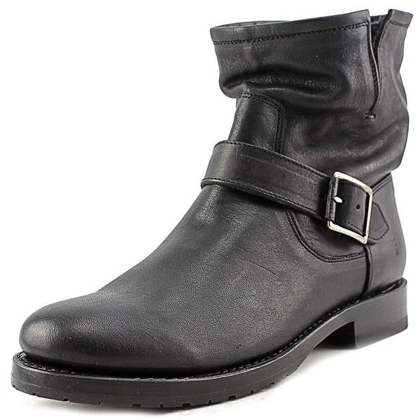 Frye Natalie Short Engineer Women Round Toe Leather Black Ankle Boot