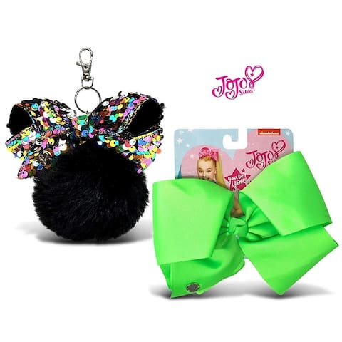Jojo Siwa Black Fur Ball with Mini Sequin Bow and Neon Green Basic Bow on Metal Salon Clip 2 Items