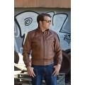 Mens Bomber Leather Fashion Jacket Brown FJ3 - Thumbnail 7