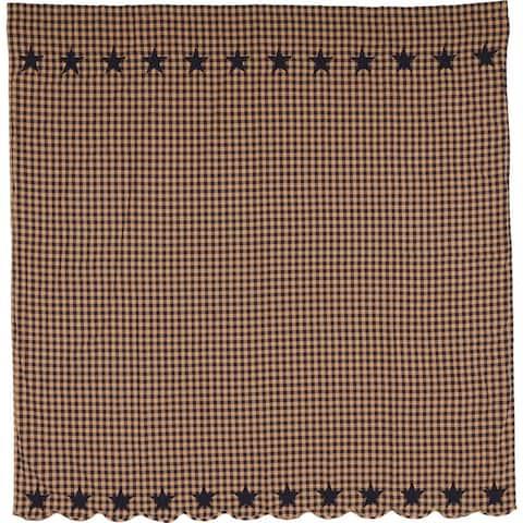 Primitive Bath VHC Star Shower Curtain Rod Pocket Cotton Star Appliqued