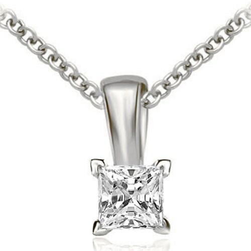 0.35 cttw. 14K White Gold Princess Cut Diamond 4-Prong Basket Solitaire Pendant