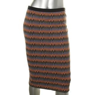 Rachel Roy Womens Jacquard Back Slit Straight Skirt - M