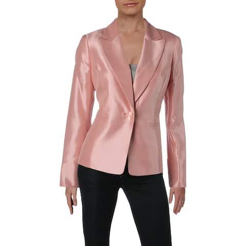 Le Suit Womens One-Button Blazer Shantung Office Wear