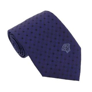 Versace Blue Woven Square Grid Tie