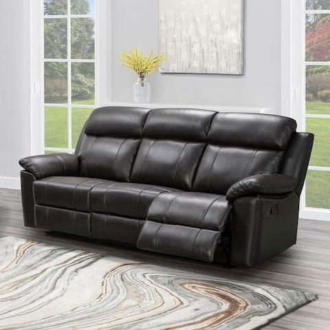 Abbyson Braylen Top Grain Leather Manual Reclining Sofa