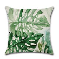 Deep Forest Tropical Leaves In Watercolor Print Decorative Pillow Cover For Couch Or Sofa 18 X 18 Overstock 31456286 Tropical leaves gallery wall art set set of 4 modern large prints printable art ideal to design your home or office. overstock com