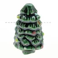 Glazed Ceramic Bead - Decorated Christmas Tree 16x28mm (1)