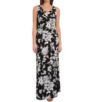 NY Collection Black White Womens Size Large L Keyhole Maxi Dress