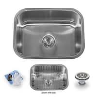 "Miseno MSS2318C 23-1/2"" Undermount Single Basin Stainless Steel Kitchen Sink - Drain Assembly, Basin Rack and Maintenance Kit"