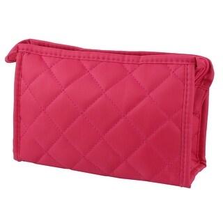 Women Nylon Rectangular Shape Zipper Closure Cosmetic Bag Purse Wallet Fuchsia