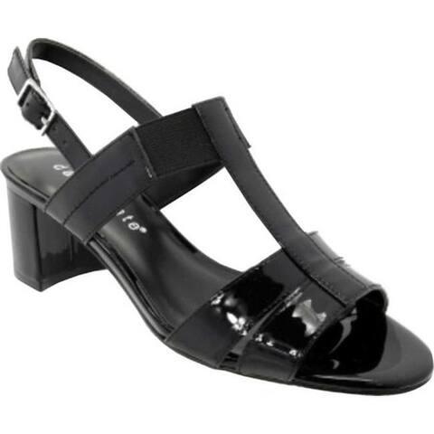 David Tate Women's Secret T Strap Slingback Sandal Black Patent Leather