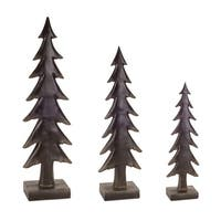 """Set of 3 Brown Rustic Finished Christmas Tree Table Toppers 23"""""""
