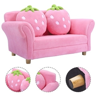 shop costway kids sofa strawberry armrest chair lounge couch w2 pillow children toddler pink free shipping today overstockcom 18242551 - Toddler Sofa