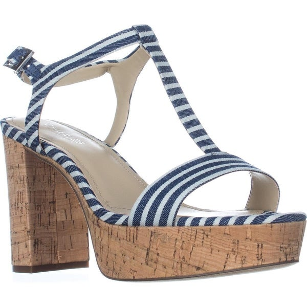 Charles by Charles David Miller T-Strap Platform Sandals, Navy Striped