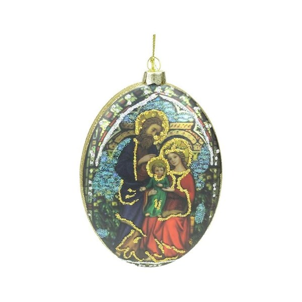 "5"" Double Sided Glass Holy Family and Flower Oval Disc Christmas Ornament"