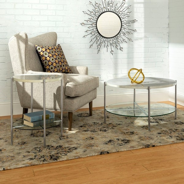 Faux White Marble Coffee Table Set: Shop Offex 2 Piece Round Coffee And Side Table Set