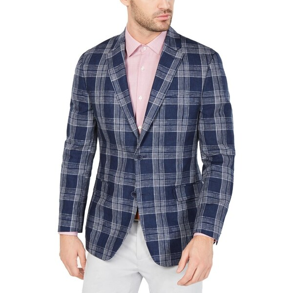Tommy Hilfiger Mens Sportcoat Linen Plaid - Navy/White. Opens flyout.