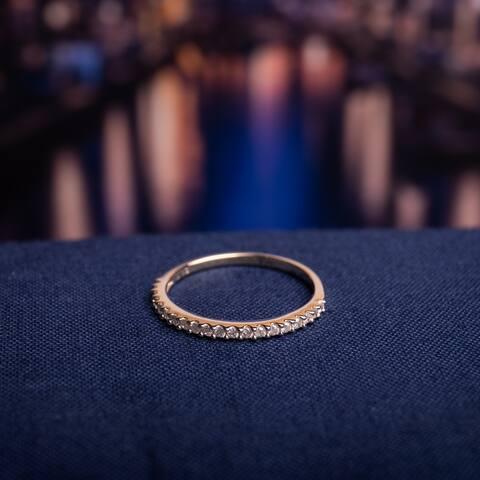 Miadora 10k Yellow Gold 1/5ct TDW Diamond Stackable Wedding Band