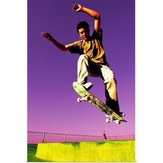 """Skateboarder in mid-air"" Poster Print"