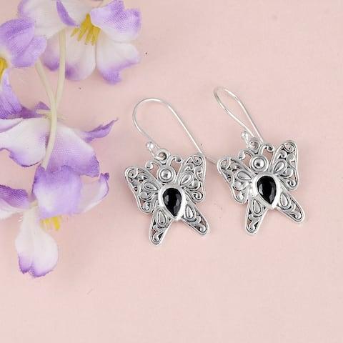 Sapphire, Garnet, Smoky Quartz Sterling Silver Pear Dangle Earrings by Orchid Jewelry