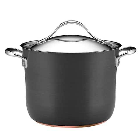 Anolon Nouvelle Copper Hard-Anodized Nonstick 8-Quart Covered Stockpot, Dark Gray