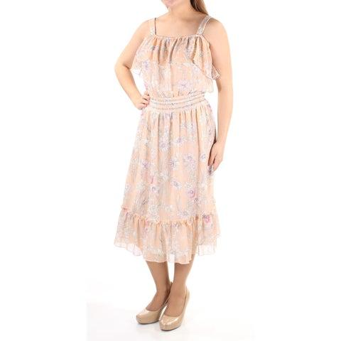 TOMMY HILFIGER $124 Womens 1110 Orange Floral Ruffled Sleeveless Dress 14 B+B